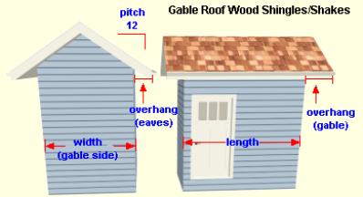 Wood Shingles Gable Roof Calculator
